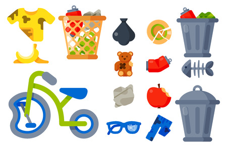 Household waste garbage icons vector illustration trash recycling ecology environment.