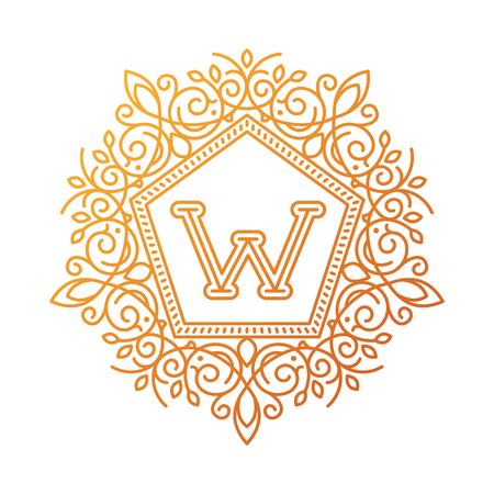 Monogram W bage logo vector illustration text letter nature leaf badge emblem line set collection sign ornament element vintage frame elegant ornament