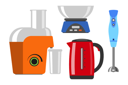 Home appliances cooking kitchen home equipment and flat style household cooking set electronics food template technology icon concept vector. Illustration
