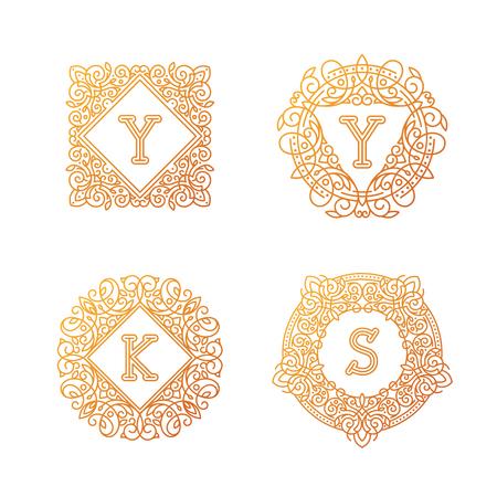 bage: Monogram bage logo vector illustration text letter nature leaf badge emblem line set collection.