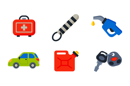 petrol pump: Auto transport motorist icons symbols change vehicle automobile mechanic and equipment symbols service car driver tools high detailed vector illustration set.