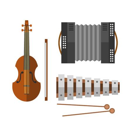 Piano keyboard accordion harmonica musical instrument vector illustration and violin.