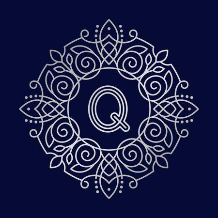 Monogram Q bage logo vector illustration text letter nature leaf badge emblem line set collection sign ornament element vintage frame elegant ornament