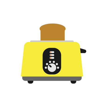 Old fashioned toaster vector illustration kitchenware appliance hot symbol electric tool and domestic electrical cooking stove household technology.