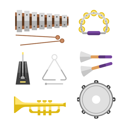 Different music instruments vector musical guitar violin and sound classical concert trumpet collection entertainment composition illustration. Illustration