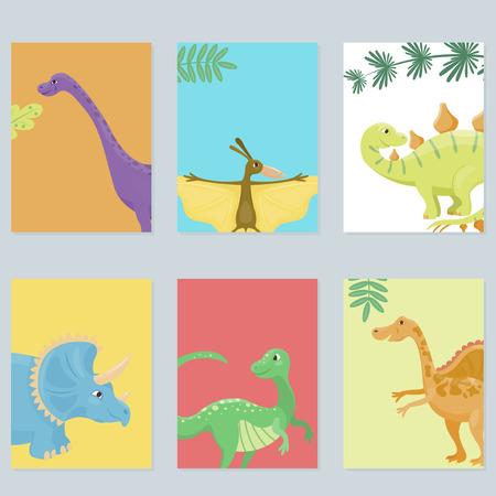Ilustración de dibujos animados dinosaurios aislada del vector plantilla de tarjeta de monstruo animales dino carácter prehistórico reptil depredador jurásico dragón fantasía cómica Ilustración de vector