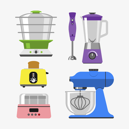 grater: Home appliances cooking kitchen home equipment and flat style household cooking set electronics food template technology icon concept vector. Illustration