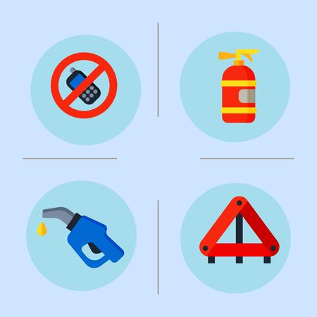 Auto transport motoriste icônes symboles changent véhicule automobile mécanique et symboles de l'équipement service voiture pilote outils haute détaillée illustration vectorielle définie.