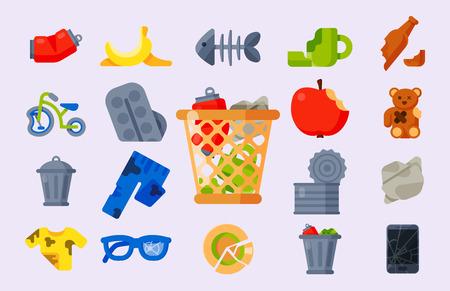 Desechos domésticos basura iconos ilustración vectorial basura reciclaje ecología medio ambiente reciclar concepto plástico papel símbolo puede bin eco