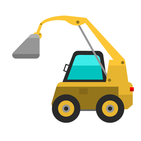 Type of agricultural vehicle or harvester machine combine and yellow excavator icon with accessories for plowing mowing, planting and harvesting vector illustration.