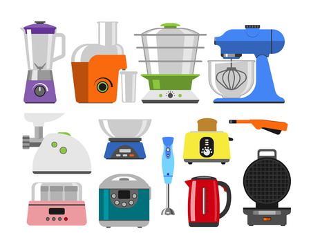 Home appliances cooking kitchen home equipment and flat style household cooking set Illustration