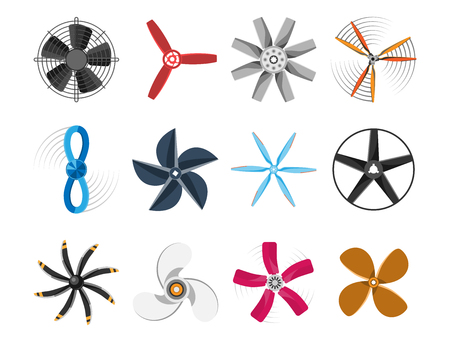 Propeller fan vector illustration fan propeller wind ventilator equipment air icon blower cooler set rotation technology power object circle rotate 向量圖像