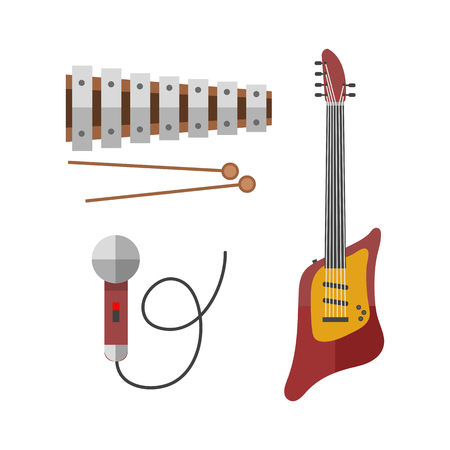 Guitar icon stringed electric musical instrument classical orchestra art sound Illustration