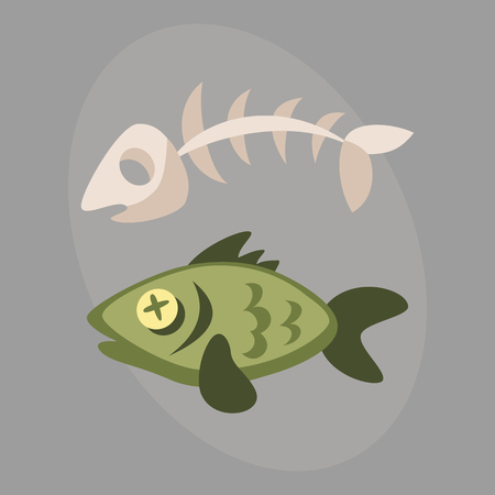 Fish bone garbage for recycling graphic wild cartoon sea skull life design and dead floating water pollution vector illustration. Illustration