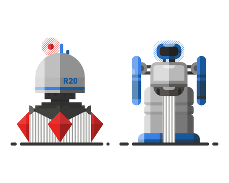vector element: Cute vintage robot technology machine future science toy and cyborg futuristic design robotic element icon character vector illustration.