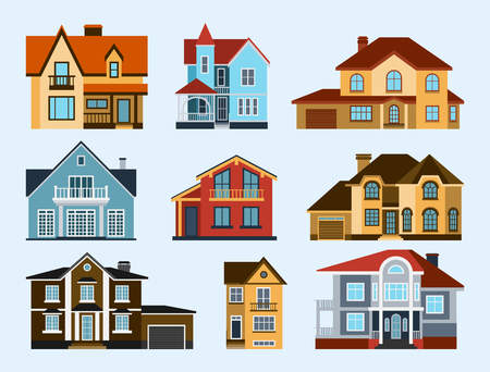 fasade: Houses front view vector illustration building architecture home construction estate