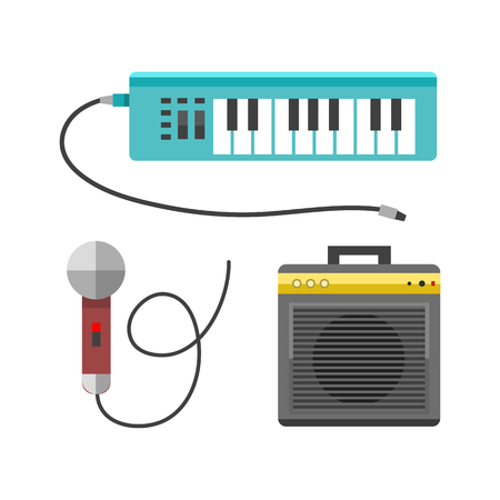 Vintage synthesizer musical equipment flat design vector illustration and classical white black musical keyboard sound instrument harmony art.