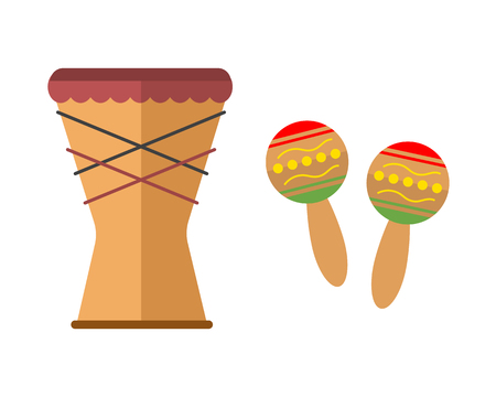 African djembe drum on white background music traditional instrument Illustration