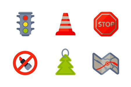 car brake: Auto transport motorist icons symbols change vehicle automobile mechanic and equipment symbols service car driver tools high detailed vector illustration set.