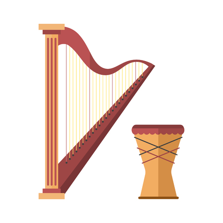 classical theater: Harp icon golden stringed musical instrument classical orchestra art sound tool and drum acoustic symphony stringed fiddle wooden vector illustration.