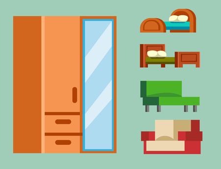 furnish: Sofa isolated vector illustration isolated furniture interior living simple. Illustration