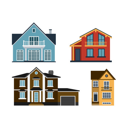fasade: Houses front view vector illustration building architecture home construction.