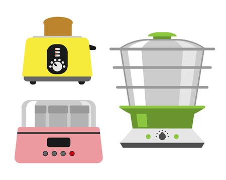 double boiler: Old fashioned toaster vector illustration kitchenware appliance hot symbol.