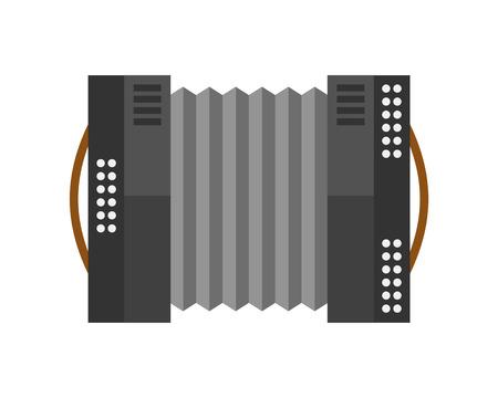 concertina: Piano keyboard accordion harmonica musical instrument vector illustration.