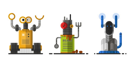 Cute vintage robot technology machine future science toy and cyborg futuristic design robotic element icon character vector illustration.