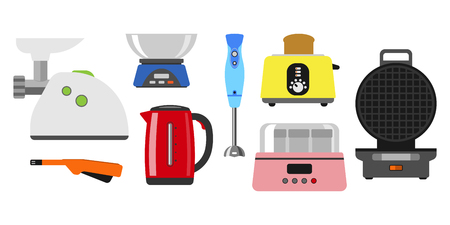 Home appliances cooking kitchen home equipment and flat style household cooking set electronics food template technology icon concept. Illustration