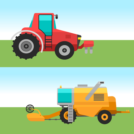 Agricultural vehicles cards harvester machine combines and excavators icon set with accessories for plowing mowing, planting and harvesting vector illustration.