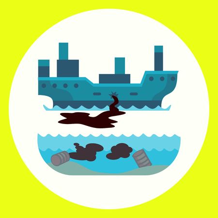 oil and gas industry: Ecological problems environmental oil pollution of water earth air deforestation destruction of animals mills factories forest protection vector illustration.