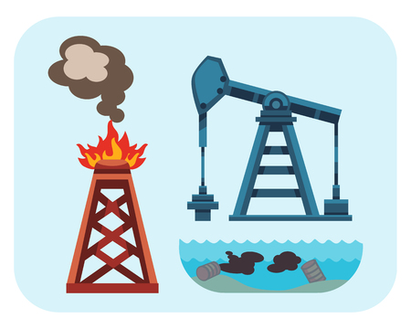 Ecological problems environmental oil pollution of water earth air deforestation destruction of mills factories forest protection vector illustration.