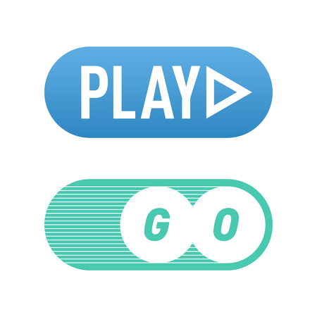 media player: UI interface button play media internet isolated website online concept element sign and online tube player approved mark click icon vector illustration.