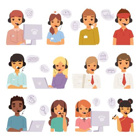 Llamar a los agentes de centro de dibujos animados personas de negocios con equipo de auriculares hablando por teléfono con los clientes y operadores de atención al cliente de caracteres de vector.