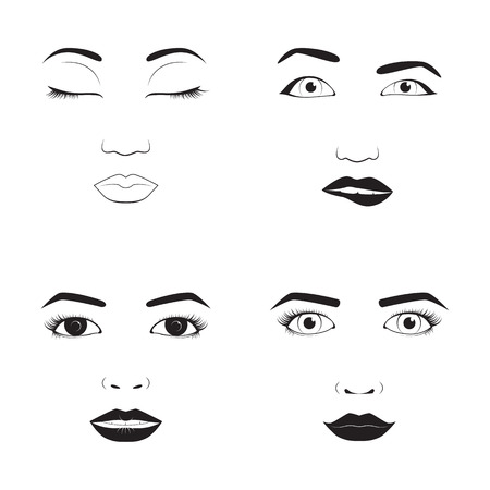 emotion expression: Girl emotion face cartoon vector illustration and woman emoji icon cute symbol character human expression sign female avatar tongue feeling. Illustration