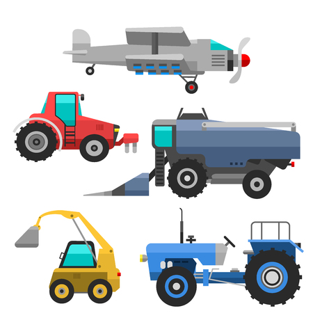 combines: Agricultural vehicles and harvester machine combines and excavators icon set with accessories for plowing mowing, planting and harvesting vector illustration.