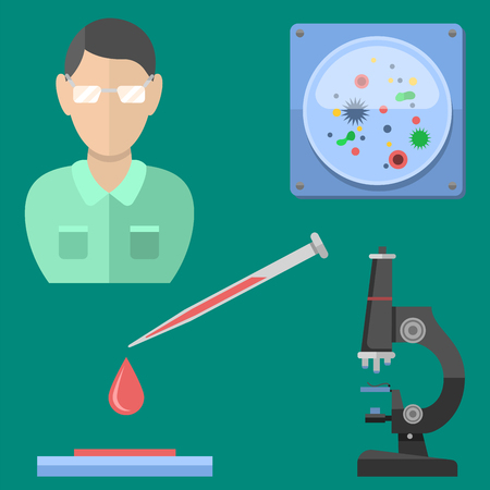 laboratory equipment: Lab symbols test medical laboratory scientific biology design molecule microscope concept and biotechnology science chemistry icons vector illustration.