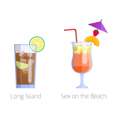 rum: Set of alcoholic cocktails isolated fruit cold drinks tropical cosmopolitan freshness and party alcohol sweet tequila vector illustration. Illustration