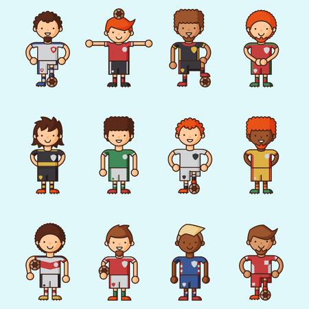 soccer field: National Euro Cup soccer football teams vector illustration and world game player captain leader in uniform sport men isolated characters.