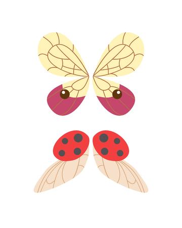 Ailes isolé animal plume pignon vol de liberté de papillon et vie de faucon naturel conception de la paix élément volant ailé côté illustration vectorielle de forme. Illustration