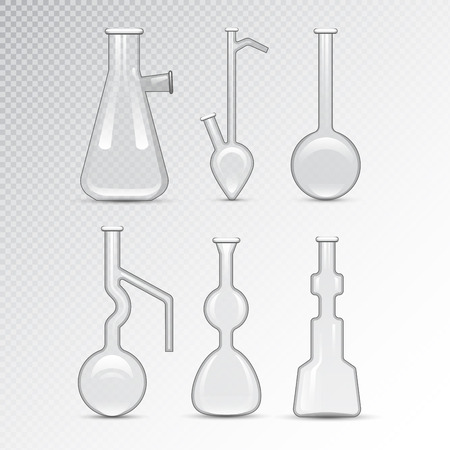 poison bottle: Chemical laboratory 3d lab flask glassware tube liquid biotechnology analysis and medical scientific equipment vector illustration.