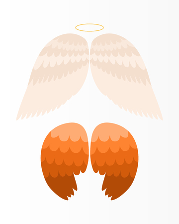 Wings angel isolated animal feather pinion bird freedom flight and natural hawk life peace design flying element eagle winged side shapevector illustration.
