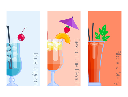 daiquiri alcohol: Set of alcoholic cocktails isolated fruit cold drinks tropical cosmopolitan freshness collection and party alcohol sweet tequila vector illustration. Illustration