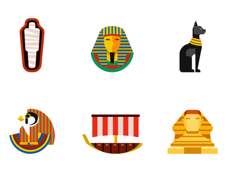 Set of vector flat design egypt travel icons culture ancient elements illustration. Illustration