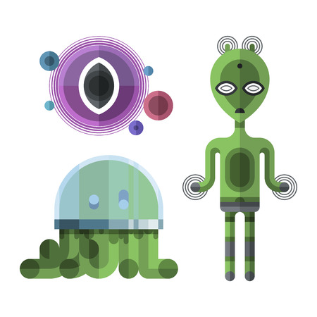 Set of different funny cartoon monsters cute alien characters and creature happy illustration devil colorful animal vector.