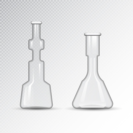 laboratory equipment: Chemical laboratory 3d lab flask glassware tube liquid biotechnology analysis and medical scientific equipment vector illustration.