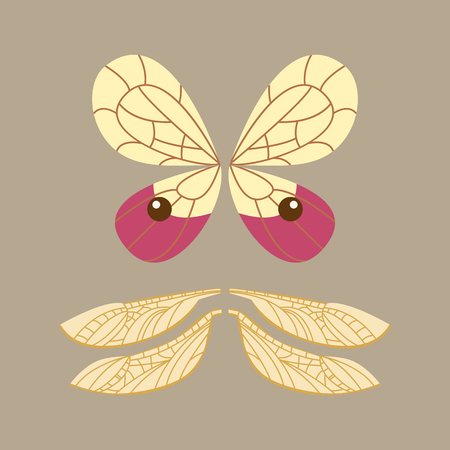 Wings isolated animal feather pinion butterfly freedom flight and natural hawk life peace design flying element eagle winged side shape vector illustration.