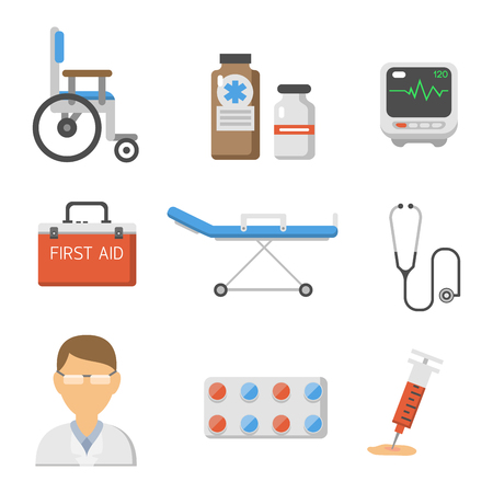 doctor tablet: Medical icons set care for ambulance, hospital, emergency, and pharmacy vector illustration. Illustration