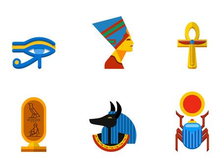 tutankhamen: Set of vector flat design egypt travel icons culture ancient elements illustration. Illustration